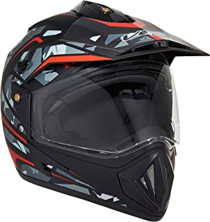 Vega Off Road D/V Camo Full Face Helmet (Dull Black and Red, Medium)