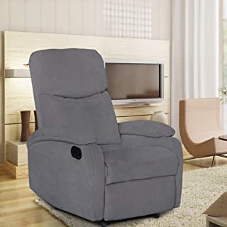 Adjustable Recliner Chair, High Back Home Theater Single Fabric Recliner Sofa Furniture Chair for Living Room, Modern Comfortable Functional Recliner Seating with Thick Seat Cushion and Backrest Grey