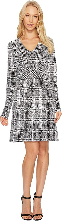 Plaid Jacquard Fit and Flare Dress