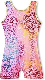 Gymnastics Leotards for Girls with Shorts Biketards Unicorn Floral Stars Rainbow Blue