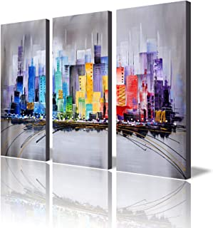 ARTLAND Hand-Painted 'Sea of Clarity' Oil Painting Gallery-Wrapped Canvas Art Set 3-Piece 16x32inchesx3 FCP-034-L