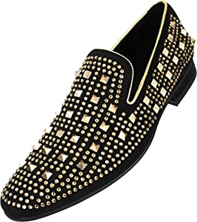 Cusco - Mens Slip On Shoes, Smoking Slippers - Designer Shoes - Rhinestone Spike Loafers