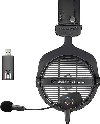 Beyerdynamic DT 990 PRO 250 Ohm Open Back Headphones Bundle with Antlion Audio ModMic Wireless Attachable USB Microphone