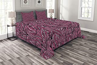 Ambesonne Pink Zebra Bedspread, Bunch of Zebra Forming Contemporary Prehistoric Pattern Illustration, Decorative Quilted 3 Piece Coverlet Set with 2 Pillow Shams, Queen Size, Black Pink Pale Mauve