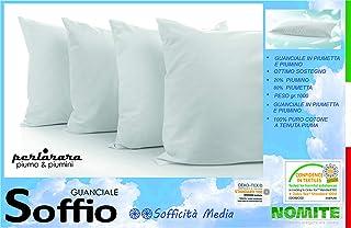 PERLARARA - Cojín de pluma de ganso suave | Almohada 50 x 80 cm – Almohada de pluma de ganso 100% | 80% plumón, 20% plumón | Almohada para cama de matrimonio | Sofficidad media
