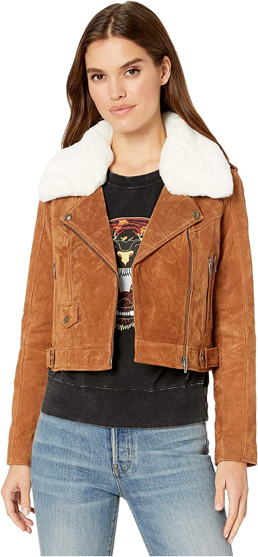 Blank NYC Real Suede Moto Jacket in Alder