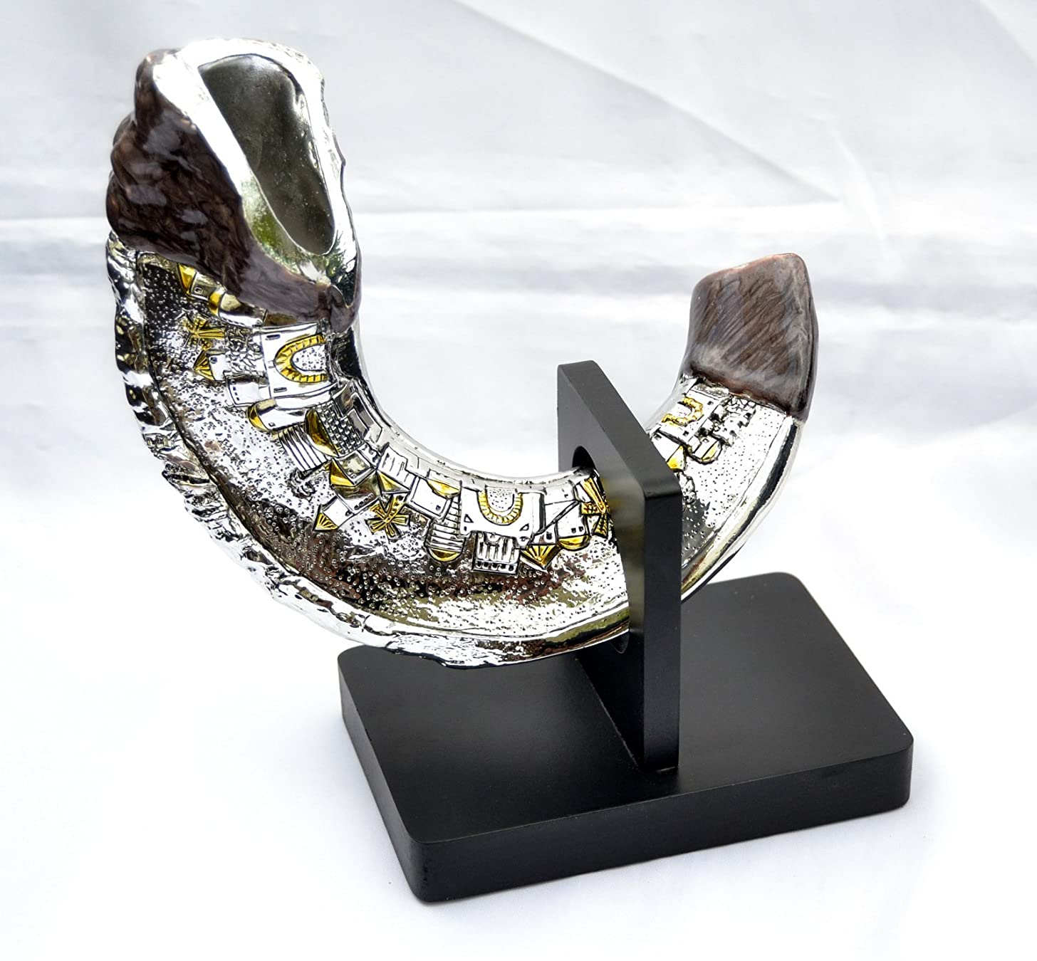 Decor Stand & Shofar Plating Silver (Not Blow) Jerusalem Design Statue Brown Israel 13