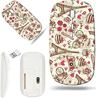 Luxlady Wireless Mouse White Base Travel 2.4G Wireless Mice with USB Receiver, 1000 DPI for notebook, pc, laptop, mac design IMAGE ID 31113004 Paris vintage background