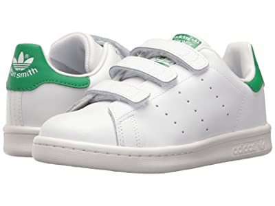 adidas Originals Kids Stan Smith (Little Kid) (White/White/Green) Kids Shoes
