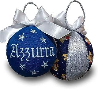 Crociedelizie, pallina di Natale personalizzata 8 cm nome ricamato decorazione natalizia personalizzabile blu e lurex arge...