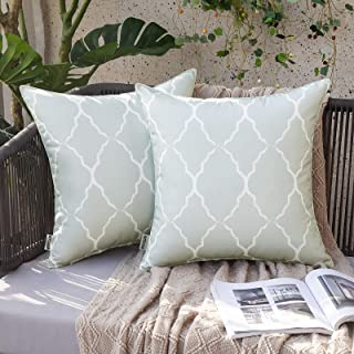 MIULEE Pack of 2 Outdoor Waterproof Throw Pillow Covers Morocco Geometric Pattern Pillowcases Decorative Cushion Cases for...