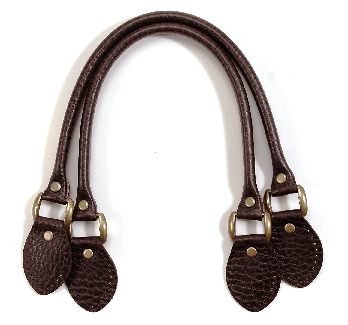 byhands Embossed Genuine Leather Purse Handles / Bag Strap, Brown, 18.9