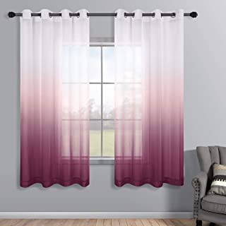 Magenta Curtains 63 Inch Length for Bedroom Girls Room Set 2 Panels Grommet Semi Voile Window Ombre Short Mauve Curtains f...