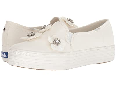 Keds x kate spade new york Bridal Triple Decker Sequin Flowers (Bright White Canvas) Women