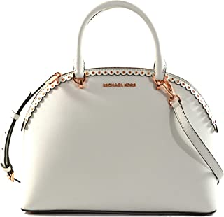 Emmy Large Dome Satchel Saffiano Leather Studded Scalloped Edge Shoulder Bag Purse Handbag