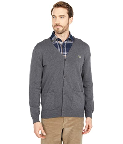 Lacoste Long Sleeve Cardigan with Open Side Pockets (Pitch Chine) Men