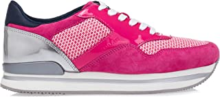 Women's Shoes 'H222' Suede and Fabric Wedge-Sneakers Fuchsia