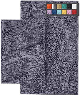 LuxUrux Bathroom Rug Set–Extra-Soft Plush Bath mats Shower Bathroom Rugs,1'' Chenille Microfiber Material, Super Absorben...