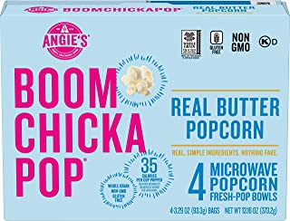 Angie's BoomChickaPop Real Butter Microwave Popcorn, (4) 3.29 Ounce Fresh-Pop Bowls