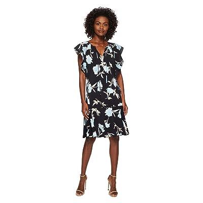 Ellen Tracy Flouncy Sleeve Dress (Premiere Fleur-Night Sky) Women