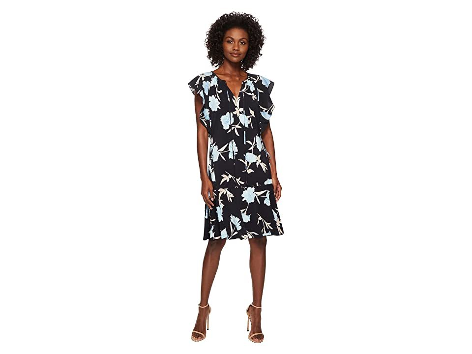 Ellen Tracy Flouncy Sleeve Dress (Premiere Fleur-Night Sky) Women's Dress, Black