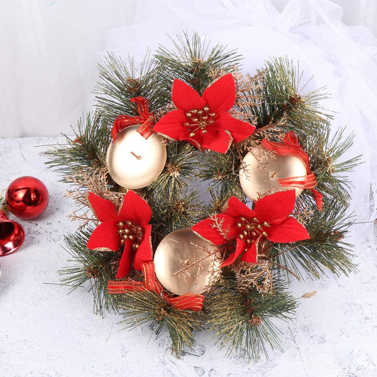 Red VOSAREA Christmas Candle Holder Christmas Candle Wreaths Fake Poinsettia Pine Picks Garland Xmas Tealight Holder Christmas Table Centerpiece for Xmas Wedding Decoration