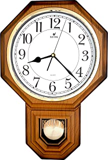 JUSTIME Traditional Schoolhouse Easy to Read Pendulum Plastic Wall Clock Chimes Every Hour With Westminster Melody Made in...