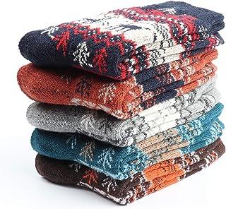 Comius Sharp, 5 pares de calcetines de lana cálidos y gruesos calcetines térmicos de invierno para hombres y mujeres estilo alce de árbol de Navidad