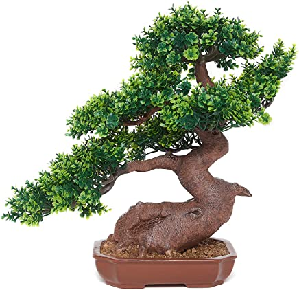 OddCroft Beautiful Artificial Sageretia Bonsai Potted Plant, Resin,11.5 Inches
