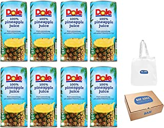 Dole Pineapple Juice, From Concentrate, 6.0 oz pack of 8 (Bay Area Marketplace Tote Bag included with Purchase)