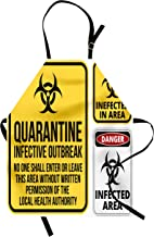 Ambesonne Zombie Apron, Danger Caution Signs Quarantine Infective Area Biological Illustration Design, Unisex Kitchen Bib with Adjustable Neck for Cooking Gardening, Adult Size, Yellow Black
