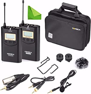 EACHSHOT Wireless Camere Lavalier Microphone Filmmaker Kit, COMICA CVM-WM100 Professional UHF 48 Channels 100m Distance Omni-Directional Mic for Canon Nikon Panasonic Sony, Camcorder,Smartphone