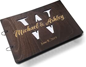 Just Customized Personalized Handmade Mr Mrs Wedding Guest Book for Bride and Groom Wood Alternative Custom Engraved Newlywed Marriage Album (Chocolate Walnut)