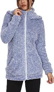 kooosin Womens Active Ultra Soft Fur Fleece Long Sleeve Hoodie Full Zip Warm Winter Jack
