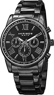 Akribos Multifunction Stainless Steel Chronograph Watch - 3 Sub-Dials Complications Quartz - Men's Heavy Bracelet Watch - AK904