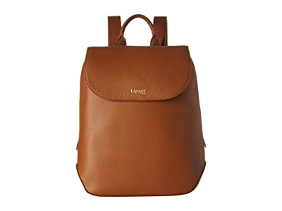 Lipault Paris Plume Elegance Leather Small Backpack (Cognac) Backpack Bags