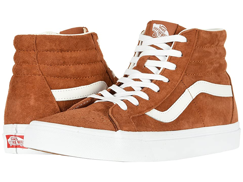 Vans SK8-Hi Reissue ((Pig Suede) Leather Brown/True White) Skate Shoes