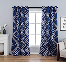 sgofais Print Blackout Curtains Bedroom Multicoloured Wave Patterns - Grommet Thermal Insulated Room Darkening Curtains Living Room, Set of 2 Panels (52 x 63 Inch, Royal Blue)