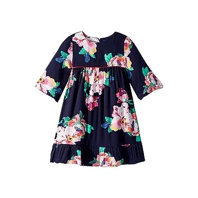 Joules Kids Printed Peplum Frill Dress (Toddler/Little Kids) (Navy Granny Floral) Girl