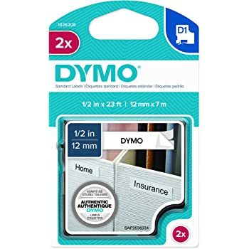 53271 1 cartridge DYMO Standard D1 Labeling Tape for LabelManager Label Makers White print on Black tape 1 W x 23 L