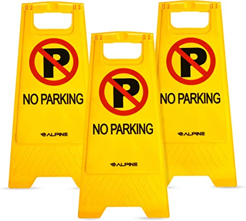 Alpine Industries Two-Sided Fold-Out No Parking Signs, Pack of 3 - Portable Outdoor Folding Floor Sign - Yellow Self ...