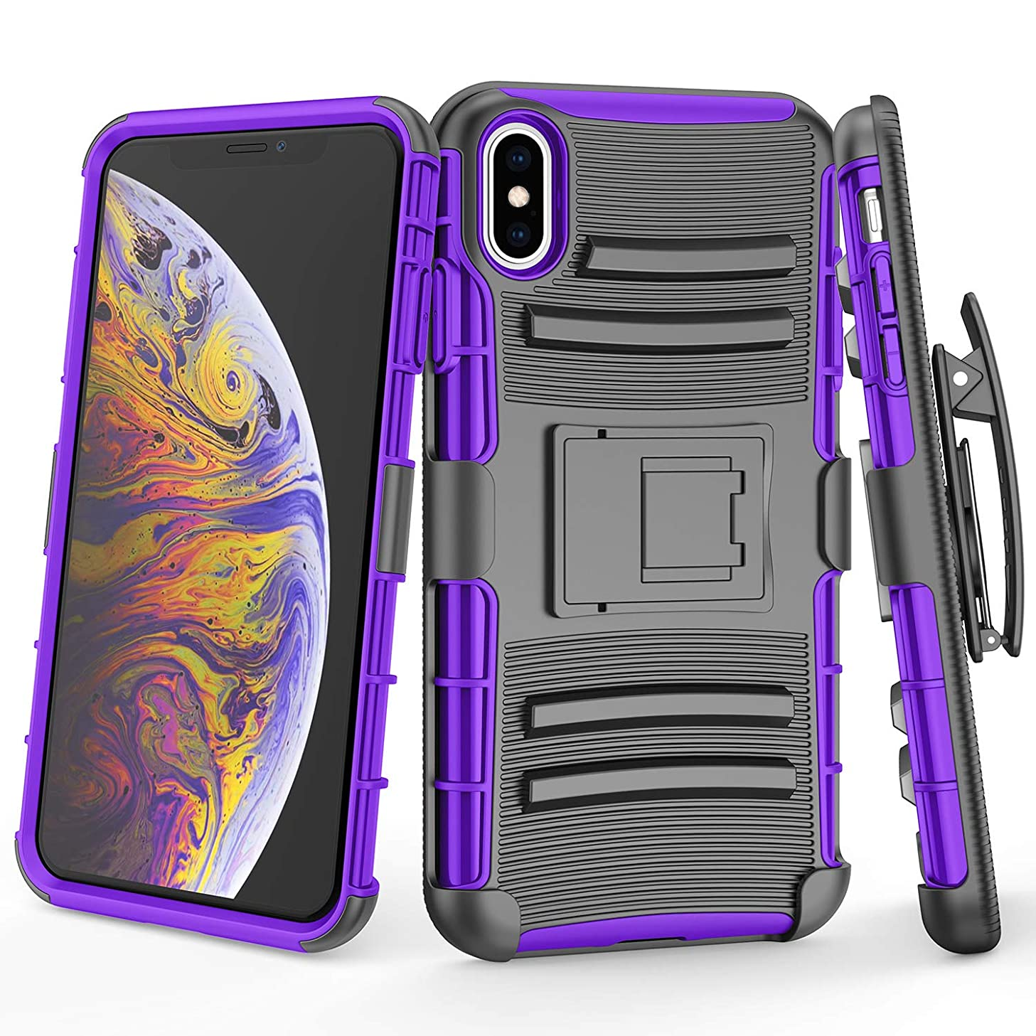 TILL for iPhone Xs Max Case, TILL [Knight Armor] Heavy Duty Full-Body Rugged Holster Resilient Shell [Belt Swivel Clip][Kickstand] Defender Combo Case Cover for Apple iPhone Xs Max 6.5 INCH [Purple]