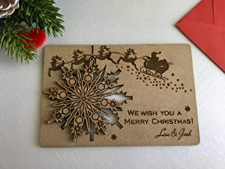 Personalized Christmas Card We Wish You a Merry Christmas Wooden Greeting Cards Laser Cut Wood Snowflake Family Gift Engra...