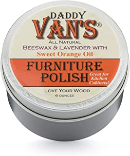 Daddy Van's All Natural Lavender & Sweet Orange Oil Beeswax Furniture Polish Chemical-Free Wood Wax Conditioner and Protectant. No Petroleum Distillates - One Tin