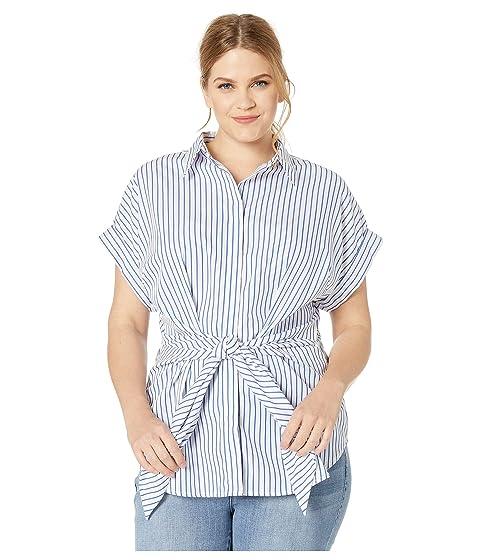 d4878f87169 LAUREN Ralph Lauren Plus Size Striped Tie Front Cotton Shirt at ...