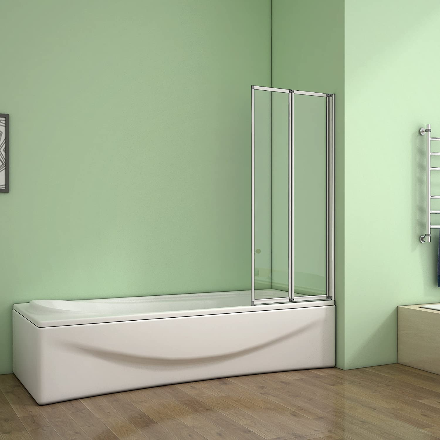 800x1400mm 2 Fold Folding Shower Screen Bath Screen Glass Panel