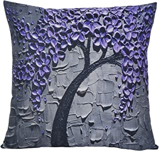 ChezMax Flat Printed 3D Oil Painting Effect Home Decorative Cotton Linen Throw Pillow Cover Cushion Case Square Pillowslip for Drawing Room Purple Flowers 18 X 18''