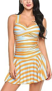 Avidlove Women's One Piece Swimsuits Striped Slim Swimwear Padded Swim Dress Bikinis