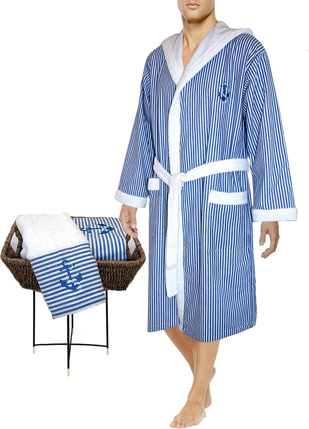 Bathrobe Hooded Size Large + Hand Towel - Riviera Yacht Collection Crafted in Europe