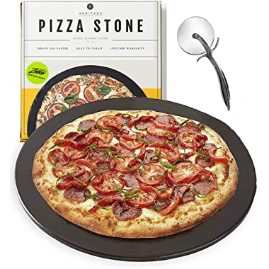 Heritage Black Ceramic Pizza Stone ​Pan ​and Pizza Cutter Wheel ​Set​ - Baking Stones for Oven, Grill & BBQ - ​Stainless​ ​& Nonstick